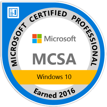 Microsoft MCSA Windows 10